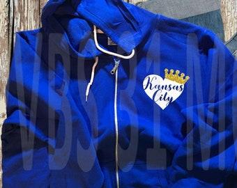 Kansas City Royals Crown Zip Hoodie - GLITTER!!