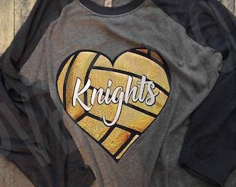 Mom Volleyball Heart T-Shirt - GLITTER!!