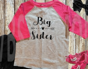 Big Sister Raglan Shirt - Pregnancy Announcement