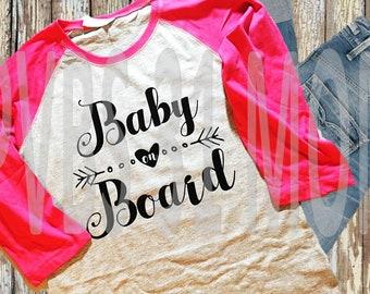Baby On Board Raglan Shirt - Pregnancy Announcement