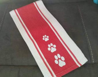 Paws and Wine - Paw Print Hand Towels.