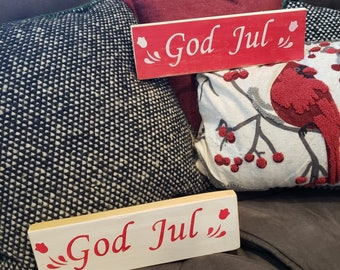 God Jul Wooden Sign - Swedish Merry Christmas Wooden Sign