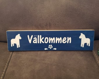 Valkommen Wooden Sign - Swedish Welcome Sign