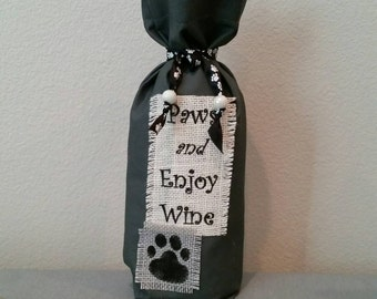 Paws and Enjoy Wine - Wine Bag