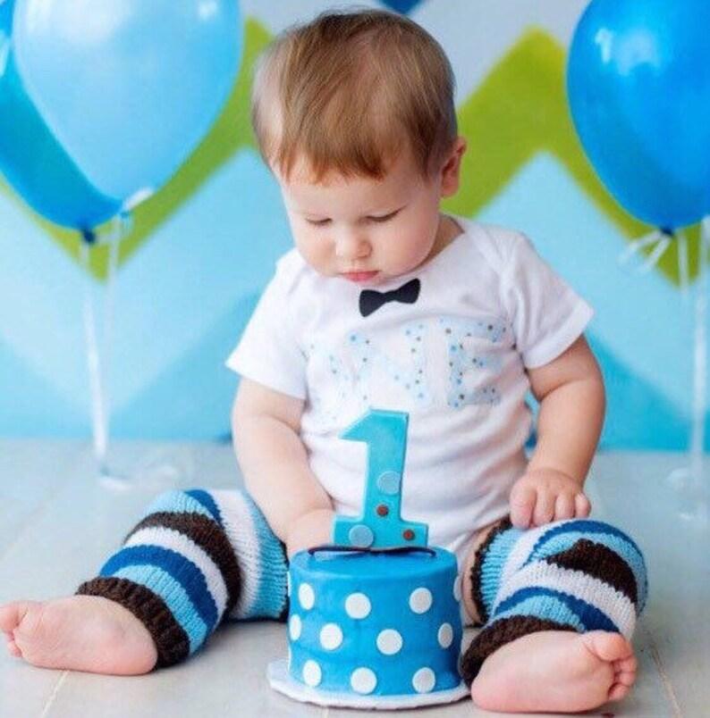 Bébé Garçons Premier 1st Anniversaire Tenue body tout nom top gilet bleu gâteau Smash