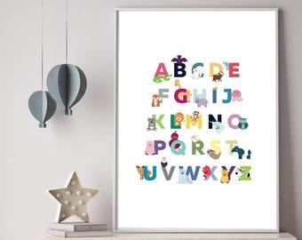 Alphabet Animal Print, 18 x 24