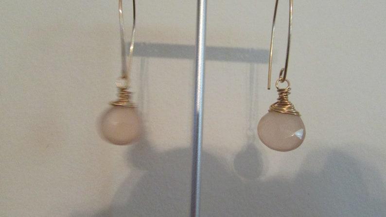 Faceted Flat Oval Salmon Quartz Drop Dangle Earrings,Quartz Earrings,Earrings,Salmon Earrings,Dangle Earrings,Weddings,Birthdays,Gifts