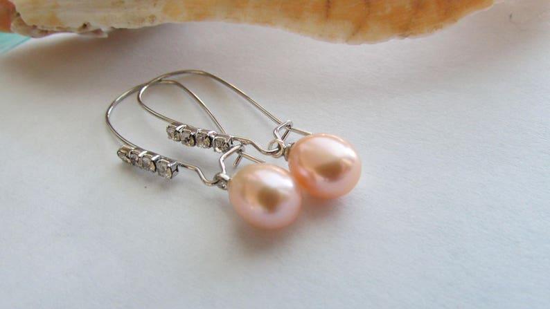 Peach Pearl Earrings,Light Lavender Pearl Earrings,Rice Pearl Earrings,Dangle Pearl Earrings,Silver Earrings,Freshwater Pearl Earrings