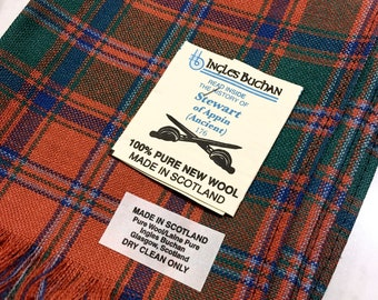 Men Women 100/% CASHMERE Scarf tartan Plaid Stripe Soft Wool SCOTLAND Orange