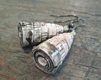 Music Earrings, Paper Bead Earrings, First Anniversary Gift, Wedding Gift, Eco-Friendly Jewelry, Paper Bead Jewelry, Gift for Music Lover