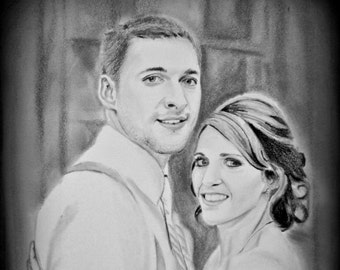 Custom Couple Portrait, Anniversary Gift, Custom Couple Drawing, Couple Drawing, Custom Wedding Portrait, Pencil Sketch, Pencil Drawing