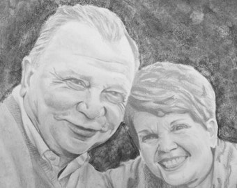 Custom Portrait, Pencil Drawing from Photo, Couple Portrait, Pencil Portrait, Pencil Sketch, Anniversary Gift, Couple Portrait