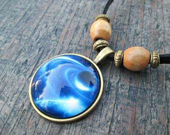 Blue Galaxy Necklace, Galaxy Jewelry, Galaxy Pendant, Blue Galaxy Jewelry, Nebula Necklace, Universe Necklace, Star Jewelry, Boho Jewelry