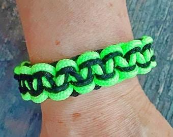 Black and Green Knotted Bracelet for Men, Macrame Bracelet for Men, Bright Green Bracelet, Bracelet for Men, Black and Green Bracelet, Men