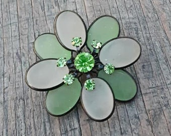 Green Lucite Flower Brooch,  Transparent Green Brooch, Light Green Flower Pin,  Floral Lapel Pin, Green Rhinestone Brooch,  Mothers Day Gift
