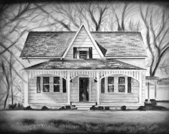 House Drawing Housewarming Gift Portrait Architectural Custom Sketch Charcoal Pencil Art