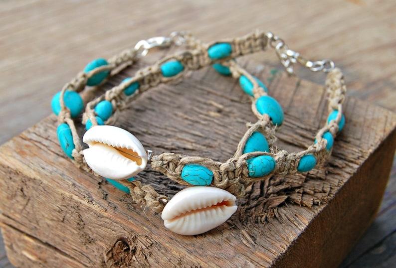 Anklets Jewelry & Watches Beautiful Cowrie Shell Hemp Anklet Handmade Ankle Bracelet Aqua Blue Surfer Boho Beach