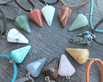 Stone Point Necklace - Healing Crystals and Stones - Boho Necklace - Crystal Point Necklace - Chakra Crystal - Earth Child Art