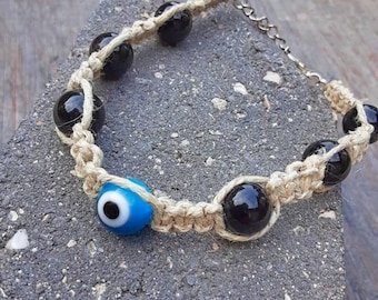 Evil Eye Anklet, Hemp Anklet, Boho Hemp Jewelry, Evil Eye Jewelry,  Fish Eye Hemp Anklet, Macrame Anklet, Hemp Ankle Bracelet, Beach Anklet