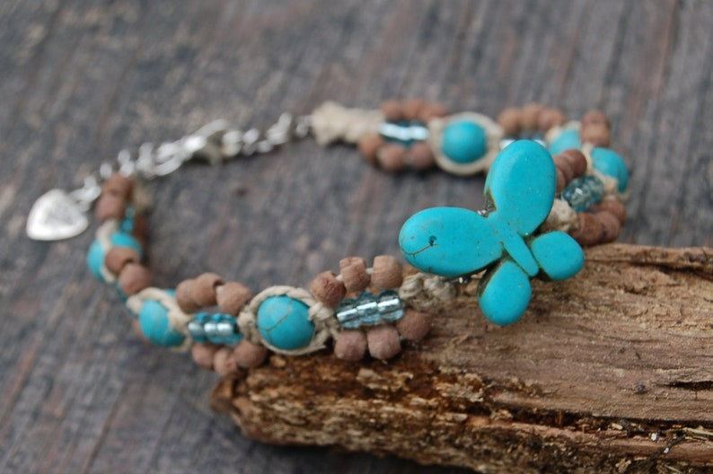 Hemp Jewelry Beach Anklet Hemp Beach Jewelry Turquoise Butterfly Anklet Turquoise Howlite Butterfly Anklet Butterfly Hemp Anklet