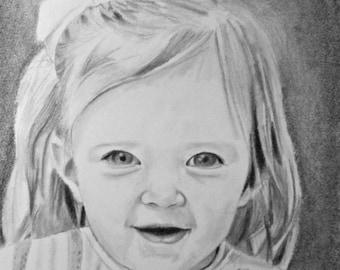 Pencil Sketch - Drawing Portrait - Custom Drawing from Photo - Custom Drawing of Child - Drawing of Baby - Original Pencil Portrait