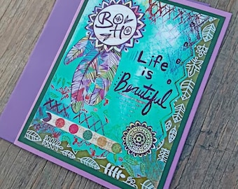 Life is Beautiful Greeting Card, Artistic Greeting Card,  Bohemian Greeting Card,  Boho Greeting Card,  Blue Greeting Card, Hippie Card