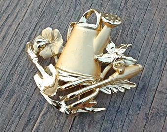 Vintage Watering Can Brooch, Garden Jewelry, Gardening Brooch,  Gift for Gardener, Gold Toned Flower Brooch, Spring Brooch, Spring Jewelry