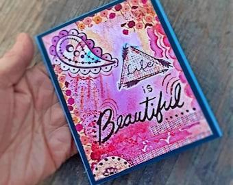 Handmade Greeting Card, Bohemian Greeting Card,  Life is Beautiful Card,  Boho Card,  Boho Birthday Card, Hippie Congratulations Card