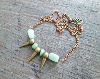 Bronze Spike Necklace - Boho Jewelry - Bohemian Jewelry - Chrysoprase Necklace - Edgy Jewelry - Rocker Necklace