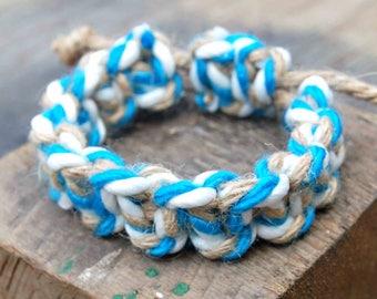 Mens Boho Bracelet, Blue and White Macrame Bracelet, Mens Knotted Bracelet, Thick Hemp Bracelet, Surfer Bracelet, Mens Bohemian Jewelry