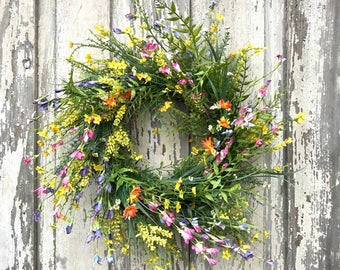 Summer wreath,spring summer wreath,front door wreath,all year wreath, summer door wreath,summer wreaths,wild fower wreath,double door wreath