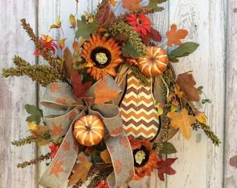 Fall Wreath, Autumn Wreath, Harvest Wreath, Fall Harvest Wreath, Double Door Fall wreath, Elegant Fall Wreath, Large Fall wreath
