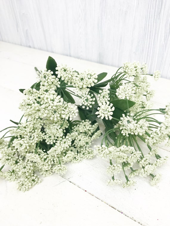 Artificial Plastic Green Queen Anne/'s Lace Stem Home Wedding Floral Garden Set//3