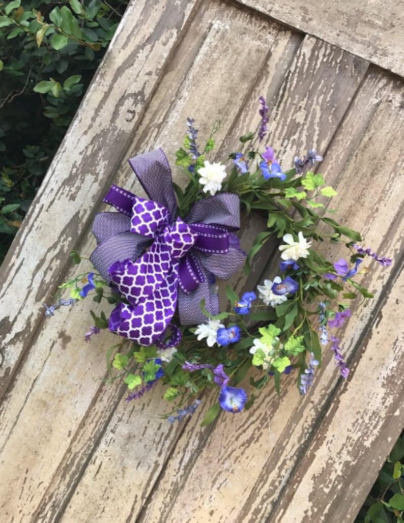 Purple Wreath Summer Wreath Purple Door Wreath Door Etsy