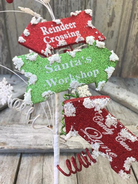 Christmas Tree Spray Snow.Christmas Picks Christmas Floral Picks Wreath Attachment Snow Arrow Sign Spray Christmas North Pole Spray Keleas Keleas Supplies