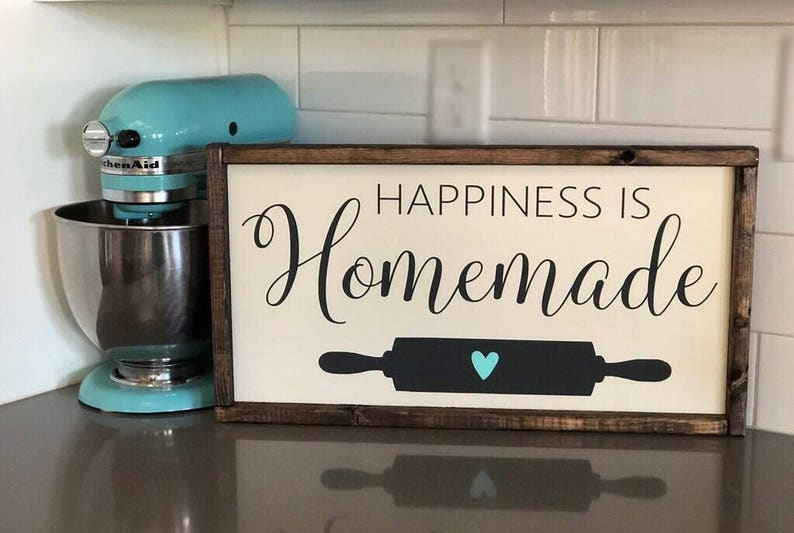 Happiness Is Homemade Kitchen Decor Gifts For Her Farmhouse Etsy
