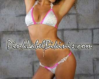 White w Hot Pink Trim Crystal Competition Bikini Swimsuit Suit For Fitness NPC NSL IFBB Posing Suit and Contests