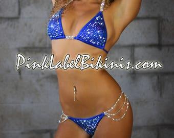 Royal Blue Fuchsia Breakthrough Heavy Encrusted Crystal Competition Bikini Swimsuit Fitness NPC IFBB Posing Suit Swimwear