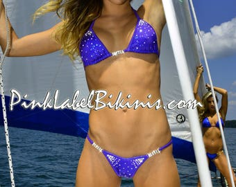 Quick Ship Royal Purple Cosmos Crystal Competition Bikini Swimsuit for Contests NPC IFBB Fitness Posing Suit