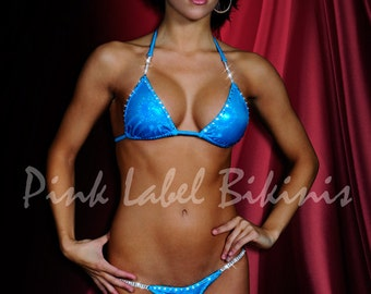 Quick Ship Electric Gypsy Blue Competition Bikini Swimsuit for Contests & NPC IFBB Fitness Posing Suit Handmade