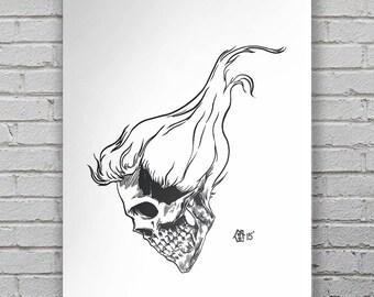 """Ben House """"Hair Skull"""" Screenprinted Poster"""