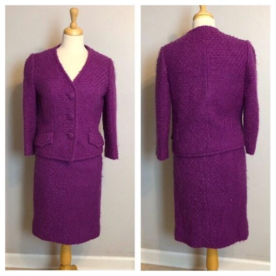 SALE Vintage Lilli Ann Raspberry Suit Size 2