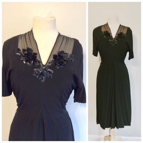 Vintage 40's Rayon Swing Dress 8