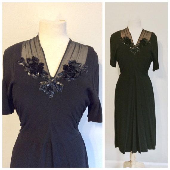 Vintage 40's Rayon Swing Dress 8 - image 1
