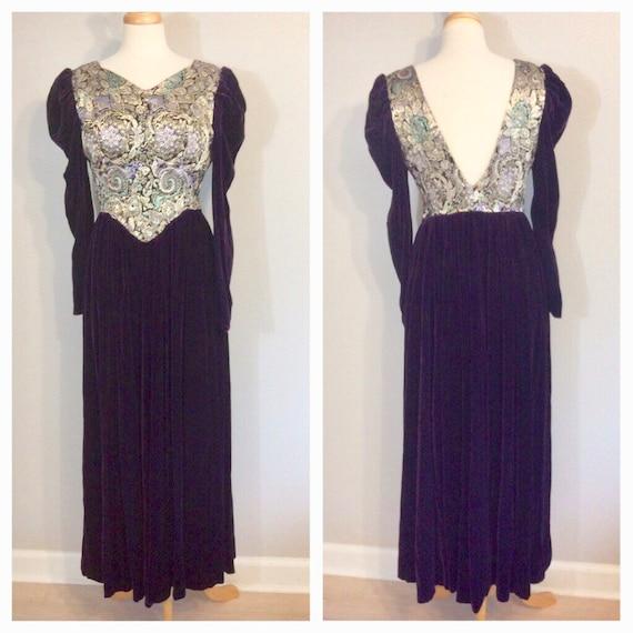 Vintage 70's 80's Velvet and Lame Gown Renaissance