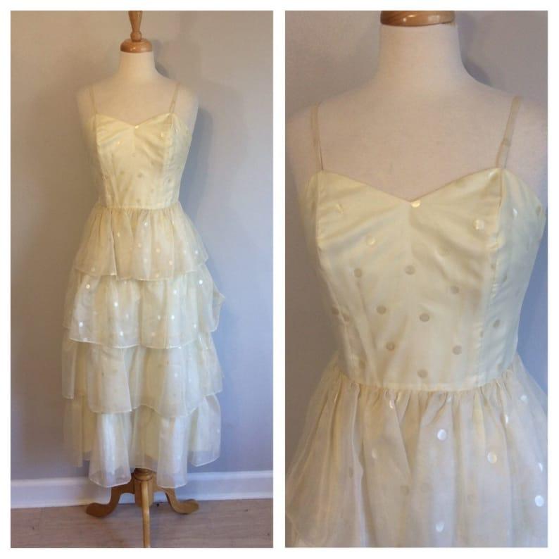 Vintage 70/'s white polka dot Roberta Ruffle Dress Gown