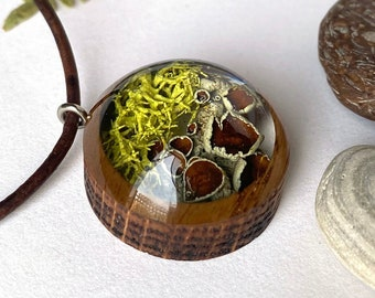 Wolf Lichen Resin and Wood Necklace Pendant: Nature Lover Jewelry with Real Wolf Lichen from the Sierra Nevada Mountains, Lake Tahoe Nature