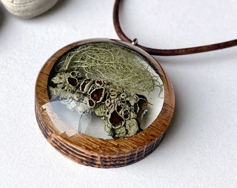 Terrarium Necklace with Rocky Mountain Lichen: Botanical Mushroomcore/ Fairycore/ Woodsy/ Colorado/Mountain Jewelry in Resin and Wood