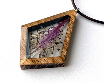 Resin and Wood Necklace Pendant: Nature Jewelry with Real Purple Kale Leaf, Ornamental Kale Leaf Necklace, Botanical Nature Locket Pendant