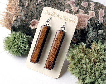 Red Oak Wood Earrings: Versatile, Classic and Elegant Natural Laser-Cut Wood and Resin Jewelry by BuildWithWood
